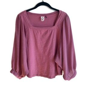 Anthropologie rose balloon sleeve square neck top